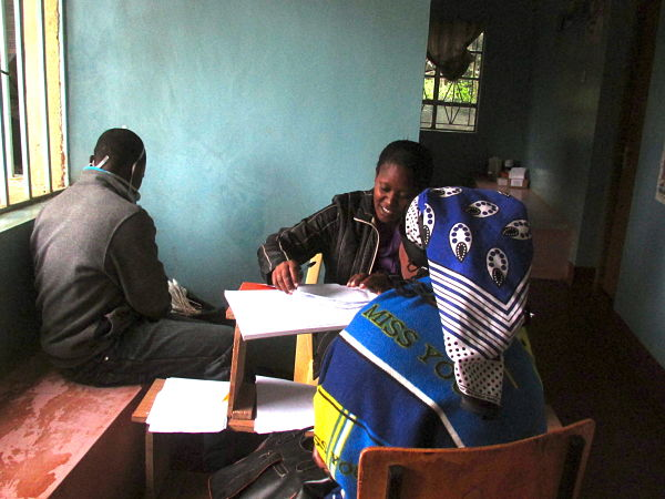 Patients registering for the free cervical cancer screening.